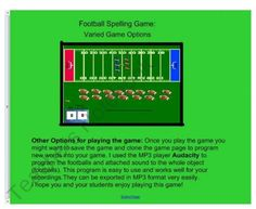 Football Spelling Game for the Smartboard short vowel sounds product from Innovative-Resources on TeachersNotebook.com