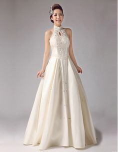 This Stylish Column Style Mandarin Collar Lace Wedding Gown is a ...