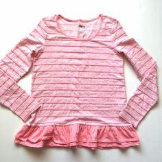 "Circo pink scalloped ruffle tee Item: Circo pink striped ruffle tunic with scalloped details.  Size: girls sz XL but fits a S perfect.  Measurements: bust 17""across length 25"" Circo Tops Tees - Long Sleeve"