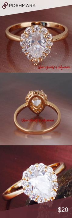 Sale✂️❗️❗️18k gold filled white sapphire ring New elegant and classy 18k gold filled white sapphire ring, size 5 Love Jewelry & Accessories Jewelry Rings