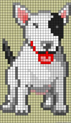 English bullterrier dog hama perler bead pattern