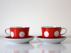Absolutely amazing set of two dotted cups + saucers from Soviet Union. This dotted pattern (specially red+white) was huge hit in USSR. And I still love