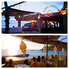 Sunset Ashram / Cala Conta druk bezocht, helder water en mooi zand, populaire beachclub Sunset Ashram