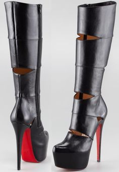 Christian Louboutin Bandita Leather Red Sole Boot Mens New Years Eve Outfit High Heel Boots, Heeled Boots, Bootie Boots, Platform Boots, Sexy Stiefel, Botas Sexy, Zapatos Shoes, Shoes Heels, Christian Louboutin Outlet