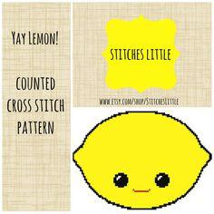 Kawaii Cross Stitch Pattern - Kawaii Lemon - Modern Cross Stitch - PDF Instant Download