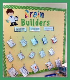 "I love this because it targets ""early finishers"" which is a big issue.Brain Builders Club - bulletin board with task cards for early finishers. Students choose a set of cards to study. Then they take a test and if correct, they earn a Brain Bead. Classroom Organisation, Classroom Displays, Future Classroom, School Classroom, Classroom Activities, Classroom Management, Classroom Ideas, Anchor Activities, Class Displays"