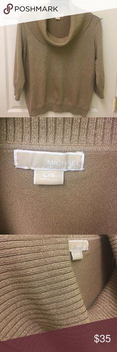Michael Kors Sweater Michael Kors Metallica Gold Sweater. Size Large. EUC. No picks, stains, pulling. Michael Kors Sweaters Cowl & Turtlenecks