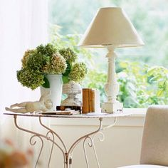Cottage Style Side Table with green hydrangeas. Love em!