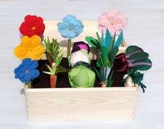 Feutre tissu potager jeu jeu, jouet MiniGarden, faire semblant légumes grand ensemble, pour les enfants, est un légume Patch petit jardinier petite femme de ménage