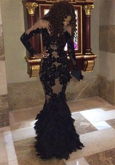 Sexy Black Mermaid 2016 Prom Dresses Long Sleeve Tulle Appliques_High Quality Wedding Dresses, Quinceanera Dresses, Short Homecoming Dresses, Mother Of The Bride Dresses - Buy Cheap - China Wholesale - 27DRESS.COM