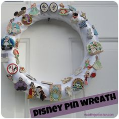 Violet Imperfection: Disney Pin Wreath. What a great way to get my pins out of a pin-book and put them on display! - so cute, I love the Ursula pin!