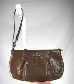 AUTHENTIC COACH Brown Leather Small Baguette Handbag Wristlet Clutch #Coach #WristletClutchCLutch