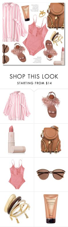 """Striped on the beach"" by laurafox27 ❤ liked on Polyvore featuring Miu Miu, Lipstick Queen, See by Chloé, Witchery, Thalia Sodi, Christian Dior and Valentino"