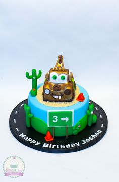Tow Mater cake from Cars. https://www.facebook.com/pages/The-Little-Cake-Box-Canterbury/1579547608947026