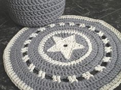Gray Crochet Rug Gray and Ecru Round Rug Crochet by LoopingHome