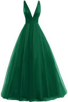 Bess Bridal Women's Tulle Deep V Neck Prom Dress Formal Evening Gowns