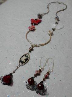"""Fairie Fantasy Cameo Victorianesque Filigree Flower"" 14 kgp Pendant & Earrings Jewelry Set - FREE S"