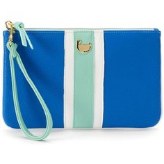 Buxton Prepster Colorblock Wristlet ($17) ❤ liked on Polyvore featuring bags, handbags, clutches, blue, wristlet handbags, blue clutches, blue purse, color block handbag and blue wristlet