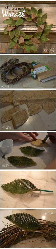 DIY Burlap 4 Seasons Wreath - Easy step-by-step instructions - Church Street Designs