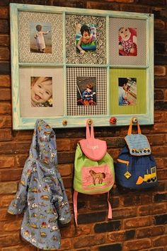 I would paint this white and use sturdier hooks for hanging backpacks behind the front door. Not sure about the scrapbook paper or if I would just mount the pictures on their own.