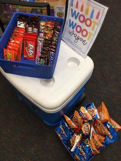 The Woot Woot Wagon is a cart or wagon filled with treats and surprises for your staff.  Perfect way to boost teacher morale.