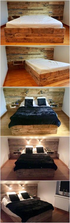 Pallet Bed with Headboard and Lights Wood Beds, Diy Furniture, Pallet Bedroom Furniture, Pallet Ideas For Bedroom, Wood Bedroom, Furniture Projects, Home Projects, Bedroom Decor, Design Bedroom
