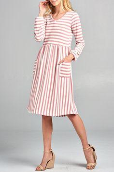 Mabel Striped Dress in Pink