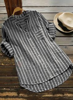 Casual Sleeve Buttoned High Low V neck Stripes Linen Blouse - moda Casual Shirt Look, Casual Shirts, Casual Tops, Striped Linen, Striped Blouses, Grey Women's Tops, Mode Outfits, Mode Inspiration, Short Sleeve Blouse