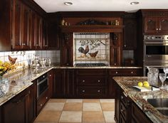 A hand-painted tile backsplash with a quaint chicken motif completes the richly drawn picture.