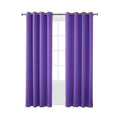 "Sun Zero Seymour Room Darkening Grommet Curtain Panel \""  \"" Purple ($20) ❤ liked on Polyvore featuring home, home decor, window treatments, curtains, purple, room darkening panels, grommet valance, purple valance, purple curtains and room darkening curtain panels"