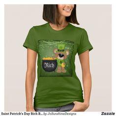Shop Saint Patrick's Day Rich Bear Cauldron Coin Tshirt created by JoSunshineDesigns. St Patricks Day, Saint Patricks, St Patrick's Day Gifts, Girls Wardrobe, Comfy Casual, Funny Tshirts, Cauldron, Shirt Designs, T Shirts For Women