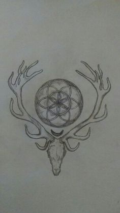 Tattoo idea, seed of life over a waning crescent moon set between the antlers of a deer skull