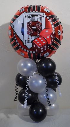 PLAYING CARDS - CASINO - DICE - POKER - FOIL BALLOON DISPLAY -TABLE CENTERPIECE