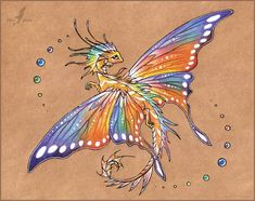 Tropical butterfly dragon -tattoo design by AlviaAlcedo - art Dragon, farytail and fantasy Fantasy Drawings, Fantasy Art, Fantasy Dragon, Pretty Art, Cute Art, Northern Lights Tattoo, Art Mignon, Butterfly Dragon, Butterfly Tattoos