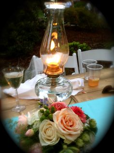 vintage oil lamp centerpiece
