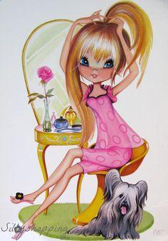 Big Eyed Girl Poster Print - at vanity with pet dog Vintage Greeting Cards, Vintage Postcards, Cute Images, Cute Pictures, Vintage Girls, Vintage Art, Illustrations, Illustration Art, Vintage Pictures