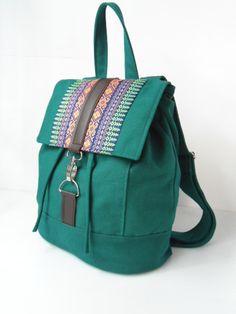Green canvas and homespun Backpack--handmade bag /Backpack/ Messenger / Rucksack/Adjustable strap--green canvas fabric by lalitathaicraft. $64.00, via Etsy.