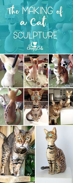 A cat sculpture made from a durable lightweight homemade cold porcelain recipe. Soft and silky to the touch and very easy to work with, cold porcelain is perfect for miniature sculptures and figurines. via @chirpycats