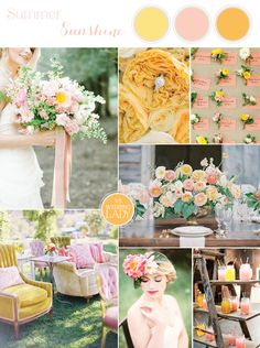 Citrus Pink and Yellow Summer Wedding Palette