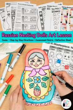 Need a fun & easy distance learning art project for elementary kids? Create folk art Matryoshka Russian Nesting Dolls with markers & crayons. Art game, too!