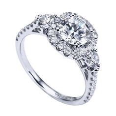 Gabriel & Co White Gold Contemporary Halo Engagement Ring - W-ER6995D4