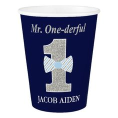 #Mr. ONEderful Birthday Party - Paper Cup 9 oz Paper Cup - #giftidea #gift #present #idea #one #first #bday #birthday #1stbirthday #party #1st