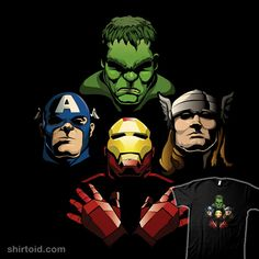 """""""Avengers Rhapsody"""" by Aaron Morales. Is this the real life, is this just comic books? The Avengers in the style of the Queen Bohemian Rhapsody album cover. [Sold at TeePublic]"""