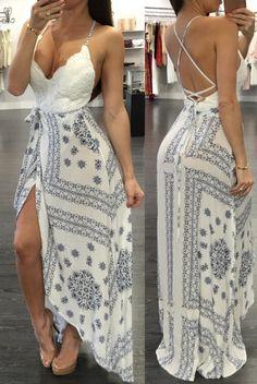 Ivy White Backless Wrap Maxi Dress