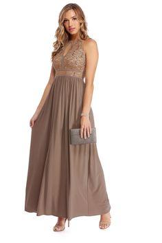 Joselyne Taupe Embellished Lace Dress  | WindsorCloud