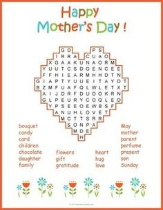 Printable Mother's Day activity for kids: Mother's Day word search puzzle worksheet.