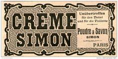 Original-Werbung/Inserat/ Anzeige 1904 : CRÈME SIMON / POUDRE ET SAVON ca. 45 x 90 mm
