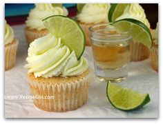 Margarita cupcakes = my favorite!!  Make these for a beach themed bridal shower. Perfect.  Instead of liquid tequila shots, top them off with margarita jello shots (using lime jello & tequila)