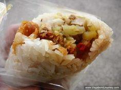 Tuan fan sticky rice roll - a popular breakfast street food in Taiwan and Hong Kong vagabondjourney.com