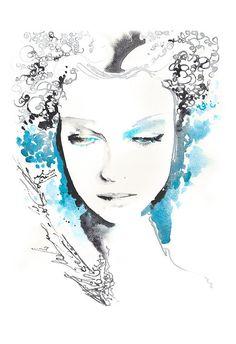 Mode-Illustration Aquarell Fashion Print Cate von silverridgestudio